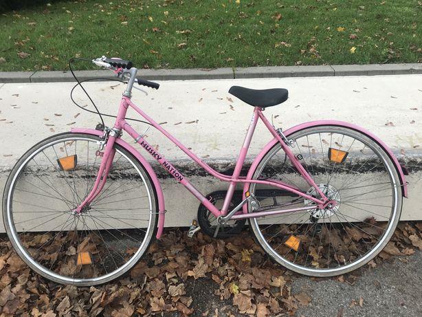 Rower retro vintage damka dwururka różowy róż miejski