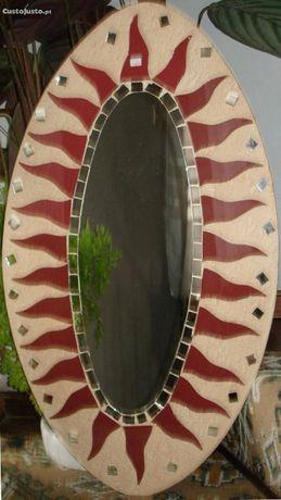 espelho oval c/ 70x40 cm tipo glass/antic, vidro especial muito antigo