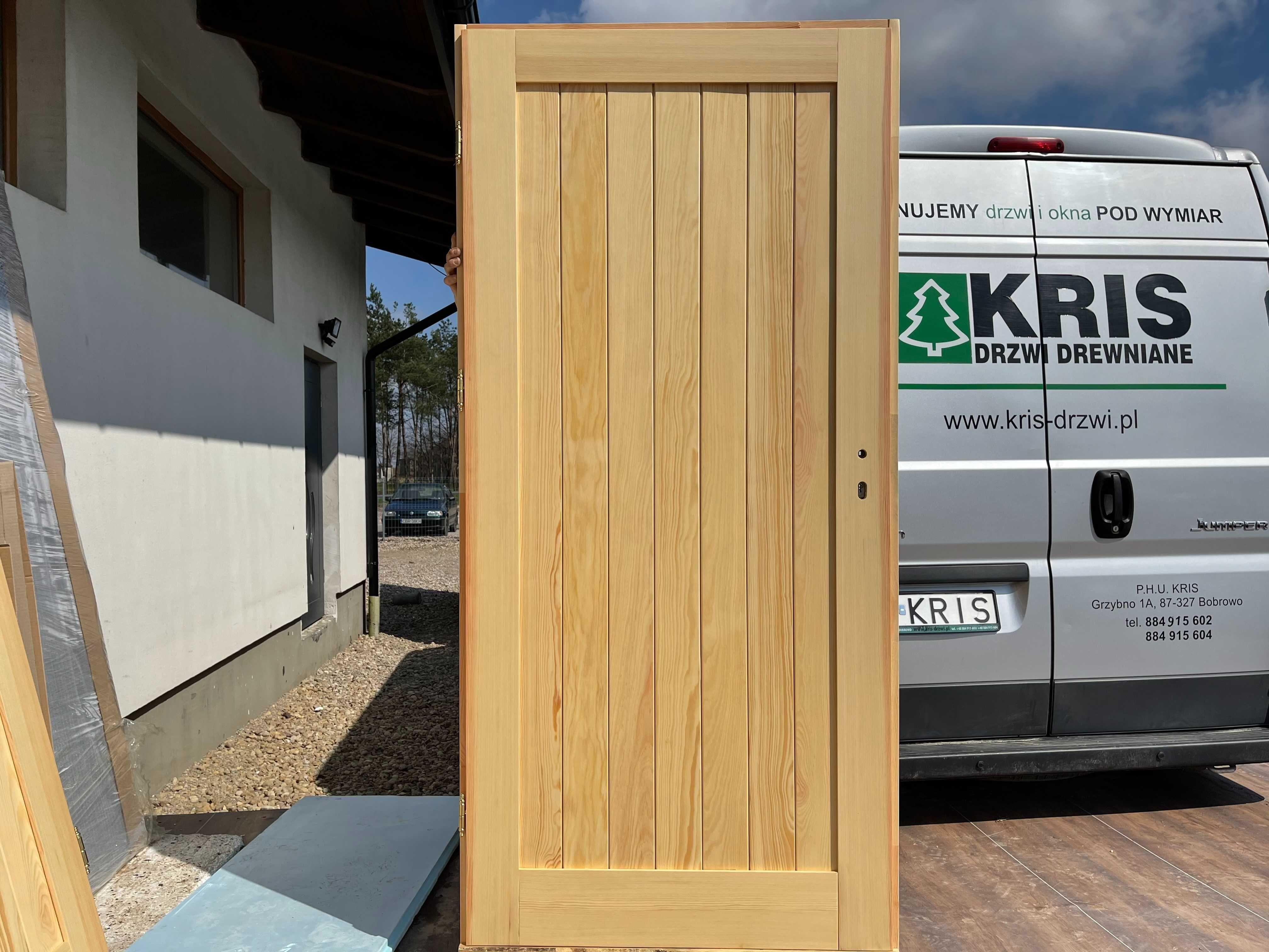 Drzwi drewniane sosonowe lakierowane z oscieżnicą OD RĘKI CAŁA POLSKA