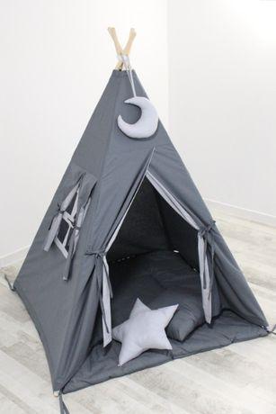 Dostępny od ręki! TIPI namiot grafitowy - jasnoszary, zestaw handmade