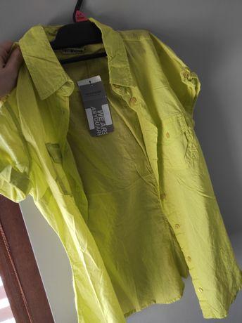 Limonkowa koszula damska S z krótkim rękawem