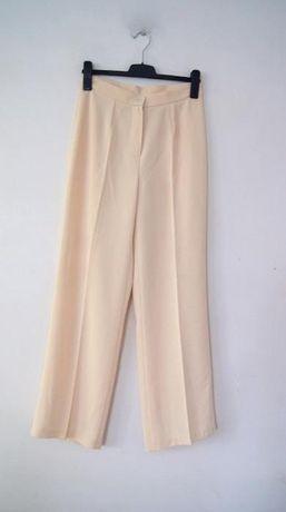 kremowe materialowe spodnie z wysokim stanem dzwony 38 M 40 jasne