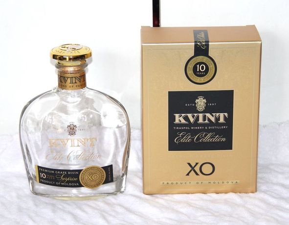 Brandy Kvint XO Suprise butelka karafka czaszka whisky wódka 0,5l