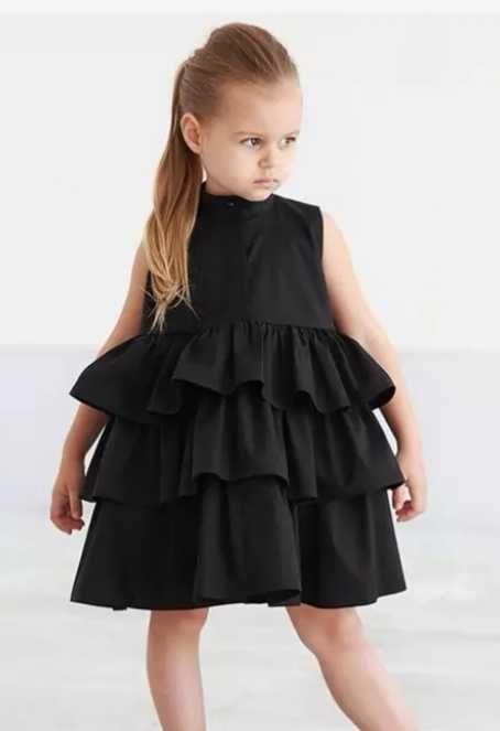 Czarna sukienka dziewczynka 98 104 falbanki Kroczyce - image 1