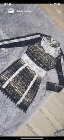 Sukienka koronka elegancka koktajlowa ażurowa s 36 xs34