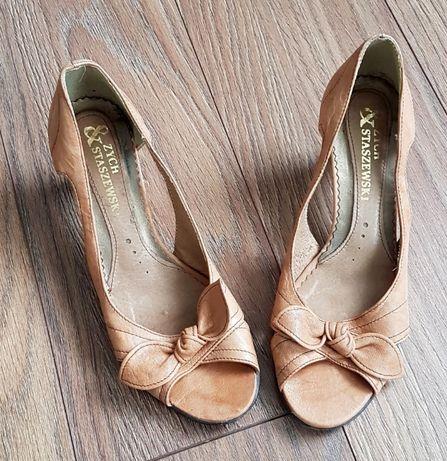Nowe buty Zych & Staszewski rozm. 36, beżowe, kokarda
