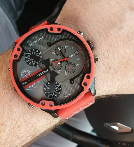 Duży czerwony zegarek męski + bransoletka Diesel - wysyłka gratis