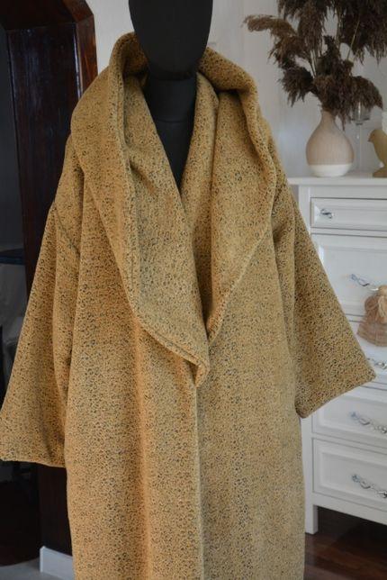40-54 Płaszcz oversize beżowy cętki długi beż 48 XXL z kapturem
