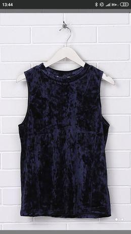 Продам блузу майку топ велюр бархат синего цвета 70грн