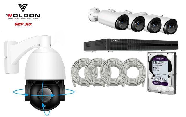 Zestaw Monitoringu 5 KAMER IP 8 MPX 30x ZOOM KAMERA OBROTOWA Hikvision