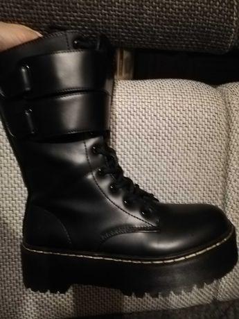 Czarne super buty botki workery glany, roz.38 JAK NOWE