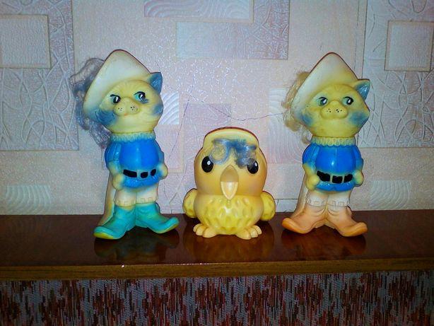 Резиновые игрушки СССР мягкие іграшки обезьяна кот в сапогах сова