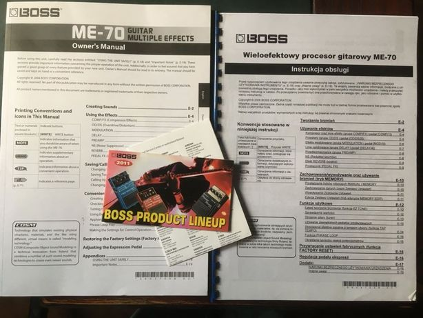 Instrukcja obsługi do Boss ME-70 PL i ANGL