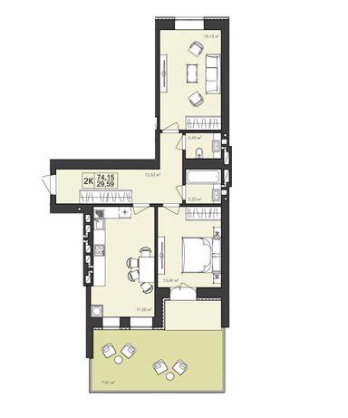 2-кімнатна квартира з терасою в ЖК Гармонія. Виставка