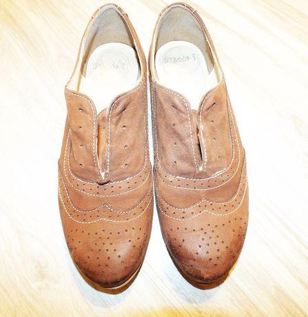 Stagórs skórzane polskie buty rude mokasynki 38