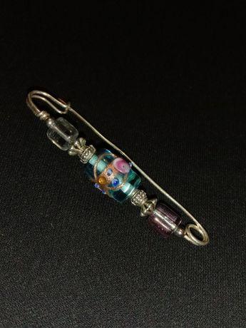 Брошь клип серьги кристаллы Макинтош чешское стекло винтаж