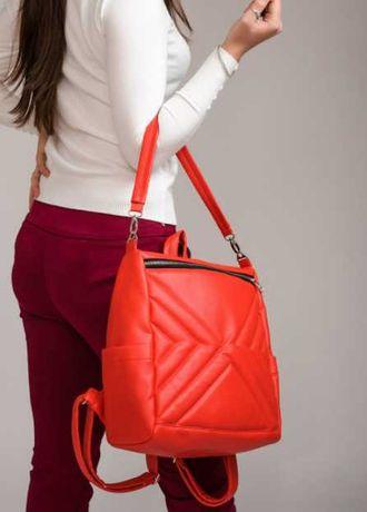 Яркий женский рюкзак красный, школьный, подростковый, повседневный