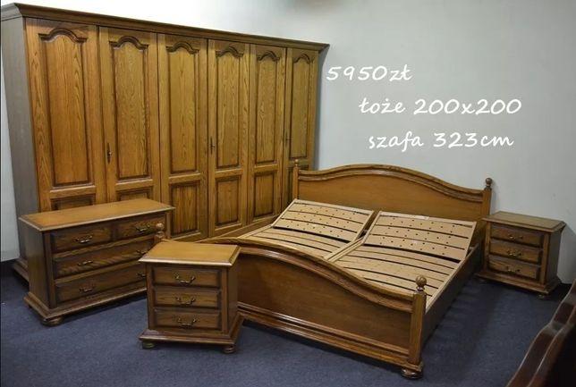 Piękna Sypialnia Dębowa - Łoże - Szafa - Stelaż - Komoda -Szafki