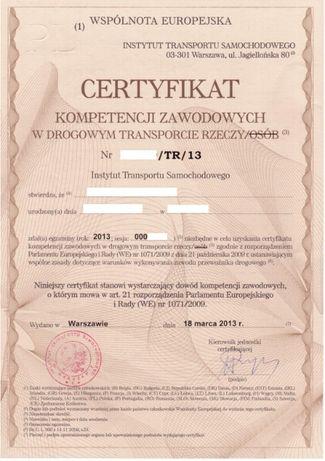 UŻYCZĘ Certyfikat kompetencji zawodowych transport rzeczy