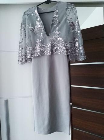Sukienka asos cekiny wesele peleryna 36