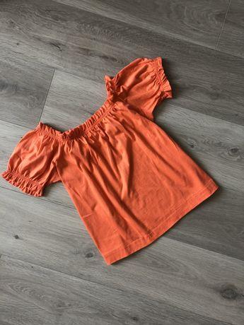 Топ корралового цвета футболка укороченная H&M zara mango
