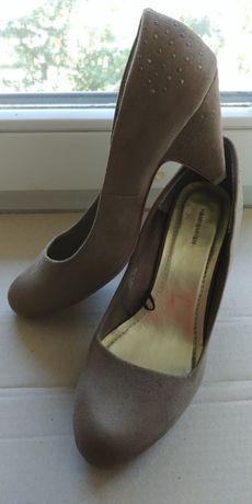 Туфли лодочки устойчивый каблук оливковый цвет р.39 H&M декор пятки
