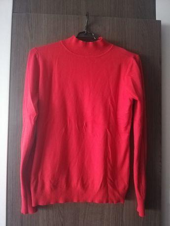 Czerwony sweterek golf rozm M