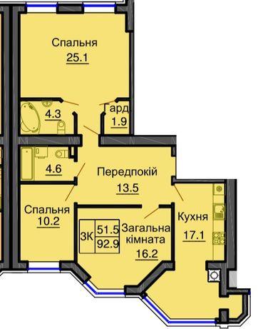 Эксклюзивная трешка 93 м2, поспешите купить в ЖК Резиденс & ЖК София