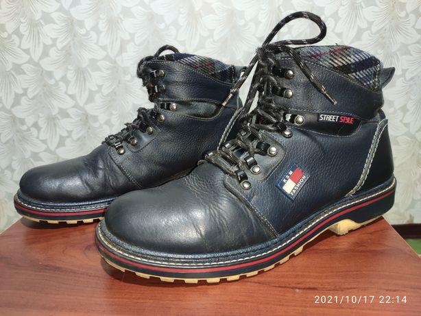 Мужские кожаные теплые ботинки 43-44 р / демисезонные / в дождь / снег