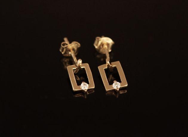Złoto 585-złote kolczyki damskie z cyrkonią.