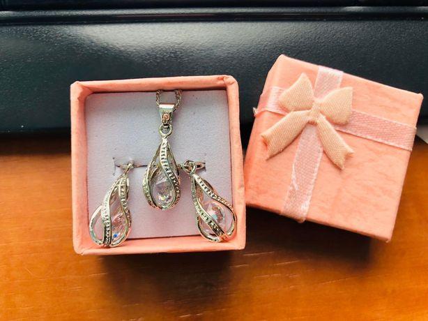 Nowa biżuteria srebrna 925 - naszyjnik + kolczyki + pudełko