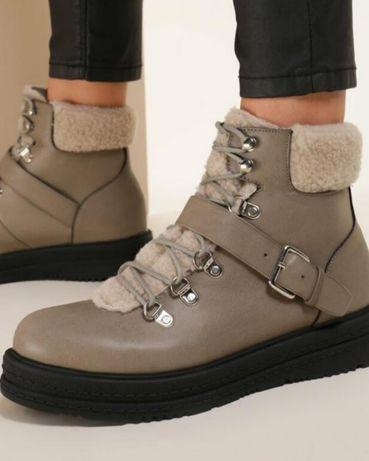 Стильные демисезонные ботинки хаки, зелёные для девочки подростка 36 р