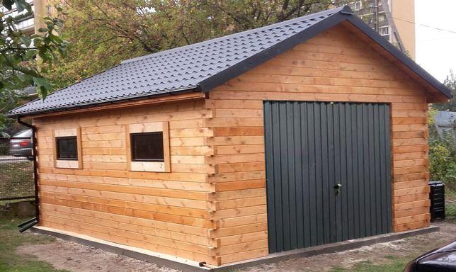 Garaż drewniany z bali 600cm x 400cm 24m2 komplet