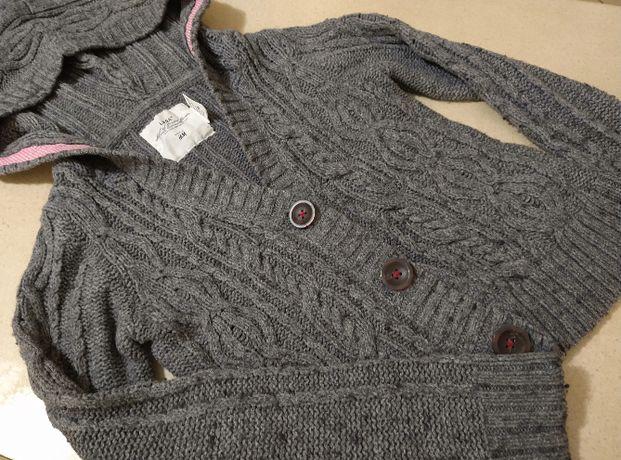134/140_ H&M Sweterek zapinany z kapturem