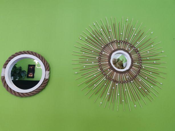 HIT Piękne nowoczesne lustra w stylu Boho RĘKODZIEŁO Juta Bambus
