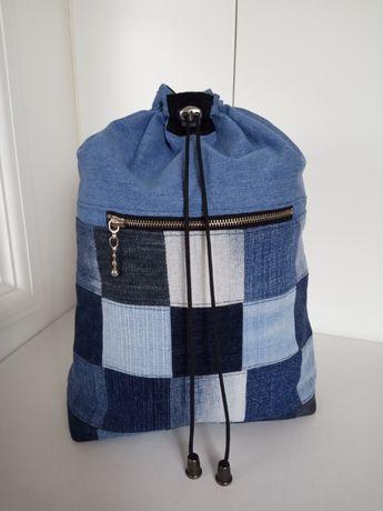 Kosmetyczka jeansowa worek rękodzieło patchwork (handmade upcykling)