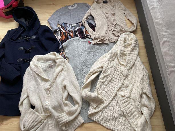 Zestaw ubrań wiosennych 38/40 sweter plaszczyk bluza