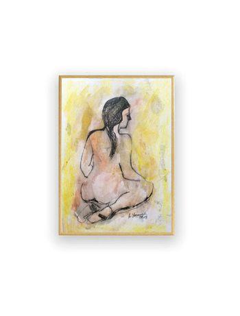 nowoczesny szkic do sypialni, akt rysunek w ramce, kobieta obraz malow