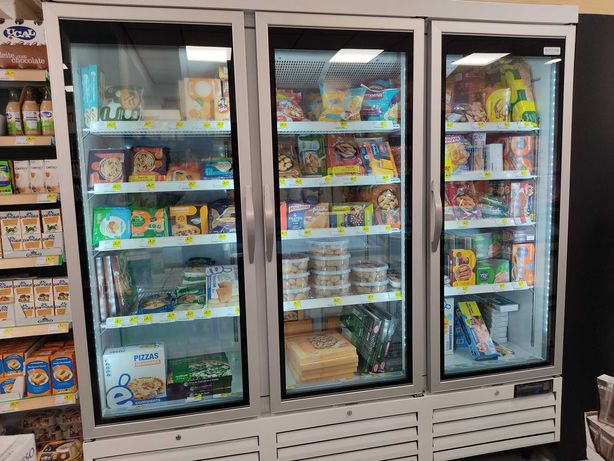 Armário de Congelação com 3 Portas de Vidro