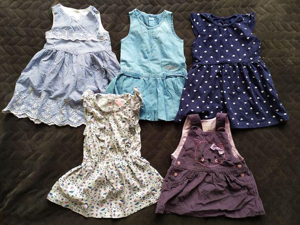Mega paka ubranka dla dziewczynki rozmiar 74 -  sukienki leginsy body