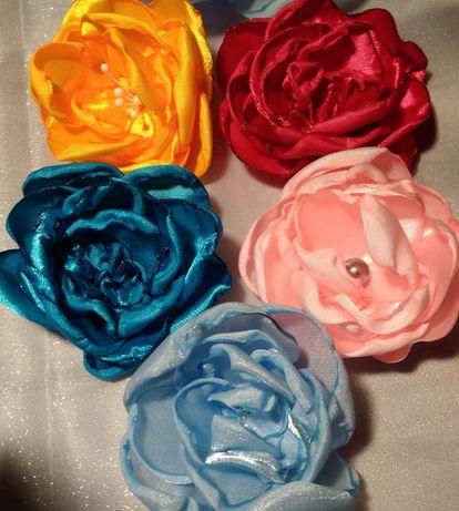 Цветы из атласа для украшения одежды, обуви, сумок, причёсок