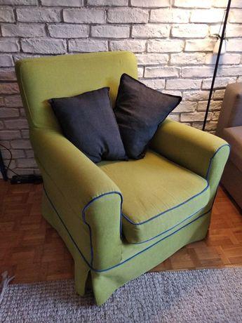 Fotel design zielony/ limonka z lamówką. Ikea ektorp Jennylund. unikat