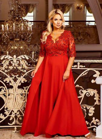 Sukienka 50 Maxi 48 Długa 46 Czerwona 44 Rękawek 42 Bal Studniówka