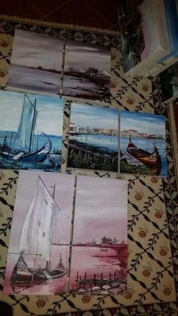 Grande lote de pinturas a oleo e aguarelas