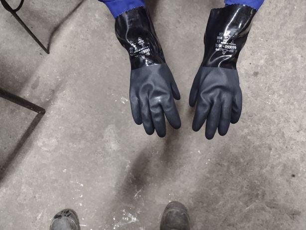 Rękawice Showa gumowe wodoodporne DŁUGIE powlekane olejoodporne 15 szt