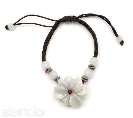 Браслет цветок из нефрита