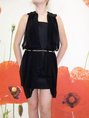 Платье мини вечернее черное с баской U.S. Polo Assn, р. S