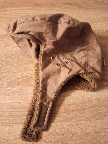 Ciepła czapka z futerkiem kolor jasny brąz nowa tanio
