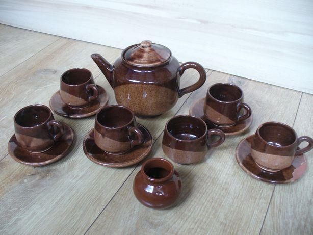 Zestaw kamionkowy PRL serwis kawowy brązowy 13 szt Bułgaria kamionka
