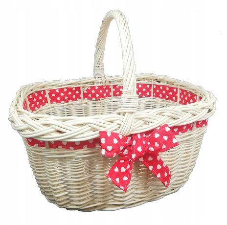 Koszyk miejski, wiklinowy na zakupy prezent piknik ze wstążką czerwoną